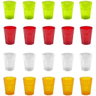 20x Kunststoffbecher Trinkbecher Plastikbecher Trink-Gläser Mehrweg Bunt 0,4l