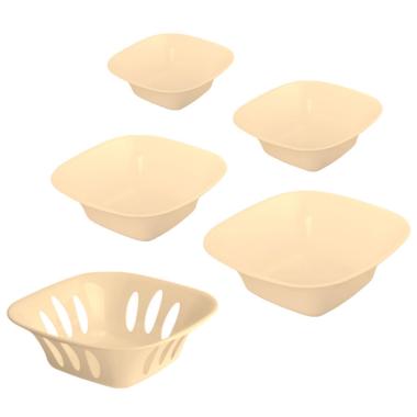5-teilige stapelbare Aufbewahrungs-Schalen Obstschüssel Deko-Schüssel Set Kunststoff