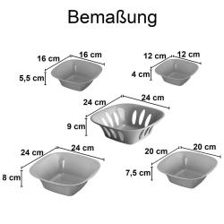 3x 5-teilige stapelbare Aufbewahrungs-Schalen Obstschüssel Deko-Schüssel Set Kunststoff