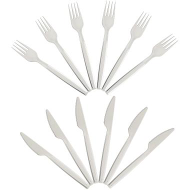 Wiederverwendbares Plastikbesteck 6 Messer und 6 Gabel Kunststoff BPA-frei weiß