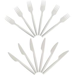 Wiederverwendbares Plastikbesteck 6 Messer und 6 Gabel...