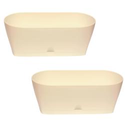 2x Blumenkasten Balkonkasten Pflanztopf für Garten Balkon und Tischdeko mit Wasserauffangschale Farbe beige