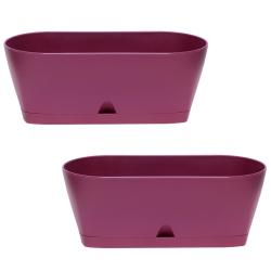 2x Blumenkasten Balkonkasten Pflanztopf für Garten Balkon und Tischdeko mit Wasserauffangschale Farbe lila