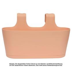 3x Blumenkasten oval Balkon Übertopf Pflanzkasten Blumentopf zum Hängen mit Wasserspeicher Farben Apricot, Sand und Beige