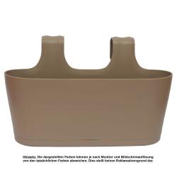 3x Blumenkasten oval Balkon Übertopf Pflanzkasten Blumentopf zum Hängen mit Wasserspeicher Farben Braun, Rot und Weiß