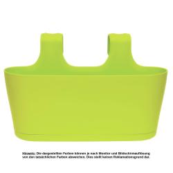 3x Blumenkasten oval Balkon Übertopf Pflanzkasten Blumentopf zum Hängen mit Wasserspeicher Farben Grün, Sand und Beige