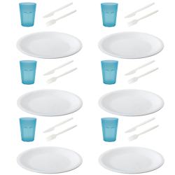 Picknick Set wiederverwendbare Essteller Trinkbecher Gabel Messer Kunststoff BPA-frei Mehrweg Grillzubehör