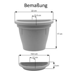 3x Pflanzkübel-Topf mit Untersetzer hängend Wand widerstandsfähig Kunststoff 2,4L