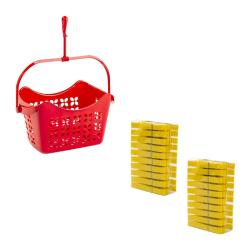 Wäscheklammerset-hänge-Korb mit 40 Klammern PP-Kunststoff mit Haken zum Aufhängen farbig