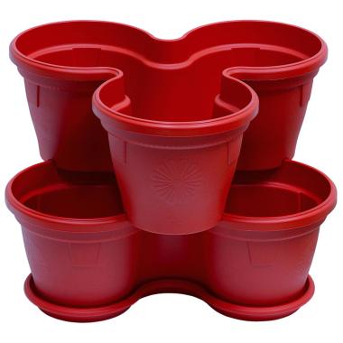 2x Blumentopf Säulentopf Pflanzturm Hochbeet mit Untersetzer stapelbar Kunststoff Rot