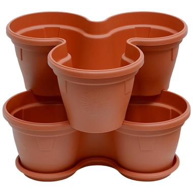 2x Blumentopf Säulentopf Pflanzturm Hochbeet mit Untersetzer stapelbar Kunststoff Terracotta