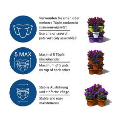 3x Blumentopf Säulentopf Pflanzturm Hochbeet mit Untersetzer stapelbar Kunststoff Lila