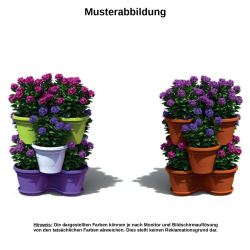 3x Blumentopf Säulentopf Pflanzturm Hochbeet mit Untersetzer stapelbar Kunststoff Grün