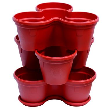 3x Blumentopf Säulentopf Pflanzturm Hochbeet mit Untersetzer stapelbar Kunststoff Rot