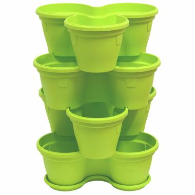4x Blumentopf Säulentopf Pflanzturm Hochbeet mit Untersetzer stapelbar Kunststoff Grün