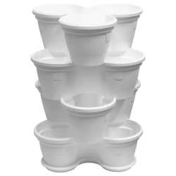 4x Blumentopf Säulentopf Pflanzturm Hochbeet mit Untersetzer stapelbar Kunststoff Weiß