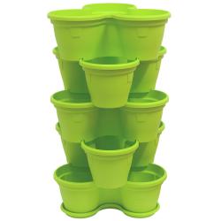 5x Blumentopf Säulentopf Pflanzturm Hochbeet mit Untersetzer stapelbar Kunststoff Grün