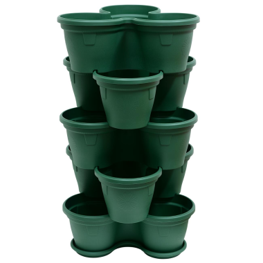 5x Blumentopf Säulentopf Pflanzturm Hochbeet mit Untersetzer stapelbar Kunststoff Moosgrün