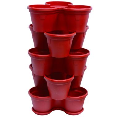 5x Blumentopf Säulentopf Pflanzturm Hochbeet mit Untersetzer stapelbar Kunststoff Rot