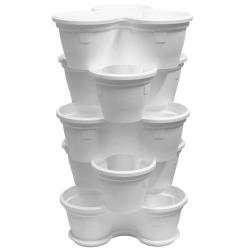 5x Blumentopf Säulentopf Pflanzturm Hochbeet mit Untersetzer stapelbar Kunststoff Weiß
