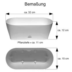 2x Blumenkasten Balkonkasten Pflanztopf Garten BalkonTischdeko mit Untersetzer grün oval
