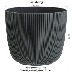 1x apricot Engelland moderner Blumentopf mit Drainagesystem Pflanztopf-Kübel widerstandsfähig rund wetterfest Kunststoff Ø 29 cm