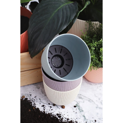 3x anthrazit Engelland moderner Blumentopf mit Drainagesystem Pflanztopf-Kübel widerstandsfähig rund wetterfest Kunststoff Ø 29 cm