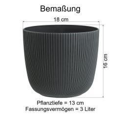 6x anthrazit Engelland moderner Blumentopf mit Drainagesystem Pflanztopf-Kübel widerstandsfähig rund wetterfest Kunststoff Ø 18 cm