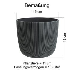 1x anthrazit Engelland moderner Blumentopf mit Drainagesystem Pflanztopf-Kübel widerstandsfähig rund wetterfest Kunststoff Ø 15 cm