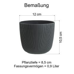 3x anthrazit Engelland moderner Blumentopf mit Drainagesystem Pflanztopf-Kübel widerstandsfähig rund wetterfest Kunststoff Ø 12 cm