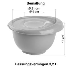1x beige Back-/Rührschüssel mit zweigeteiltem Deckel Quirltopf Salatschüssel rutschfest Silikonfüße Einhandgriff Ausgießer Kunststoff