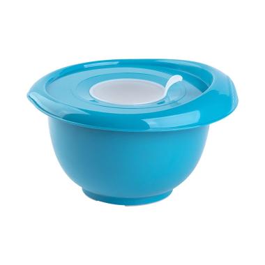 1x blau Back-/Rührschüssel mit zweigeteiltem Deckel Quirltopf Salatschüssel rutschfest Silikonfüße Einhandgriff Ausgießer Kunststoff