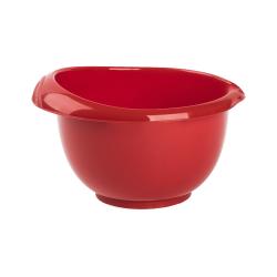 1x rot Back-/Rührschüssel mit zweigeteiltem Deckel Quirltopf Salatschüssel rutschfest Silikonfüße Einhandgriff Ausgießer Kunststoff