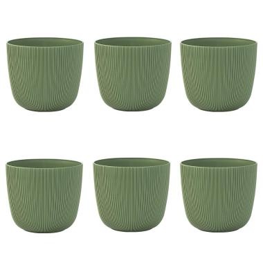 6x moosgrün Engelland moderner Blumentopf mit Drainagesystem Pflanztopf-Kübel widerstandsfähig rund wetterfest Kunststoff Ø 15 cm