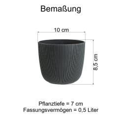 3x flieder Engelland moderner Blumentopf mit Drainagesystem Pflanztopf-Kübel widerstandsfähig rund wetterfest Kunststoff Ø 10 cm