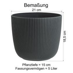 2x flieder Engelland moderner Blumentopf mit Drainagesystem Pflanztopf-Kübel widerstandsfähig rund wetterfest Kunststoff Ø 21 cm