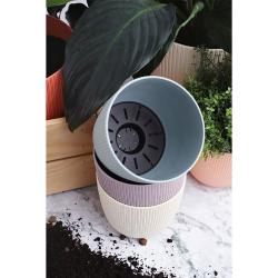 3x moosgrün Engelland moderner Blumentopf mit Drainagesystem Pflanztopf-Kübel widerstandsfähig rund wetterfest Kunststoff Ø 21 cm