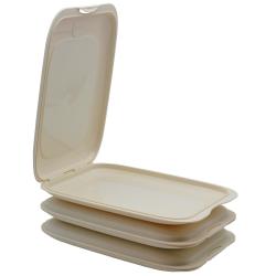 3x Stapelbare Aufschnitt-Box mit Motiv Farbmix Hochwertig Frischhalte-dose Wurst-Behälter Aufschnitt-Dose beige, BPA-frei