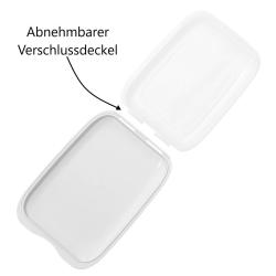 3x Stapelbare Aufschnitt-Box mit Motiv Farbmix Hochwertig Frischhalte-dose Wurst-Behälter Aufschnitt-Dose schwarz, lachs, hellblau, BPA-frei