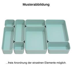 1x Schubladen-Organizer Set Aufbewahrungs-Box Einteiler Trenn-System verstellbar Utensilien Stauraum Wohn-Badezimmer Kunststoff pastell-grün
