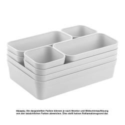 1x Schubladen-Organizer Set Aufbewahrungs-Box Einteiler Trenn-System verstellbar Utensilien Stauraum Wohn-Badezimmer Kunststoff hell-grau