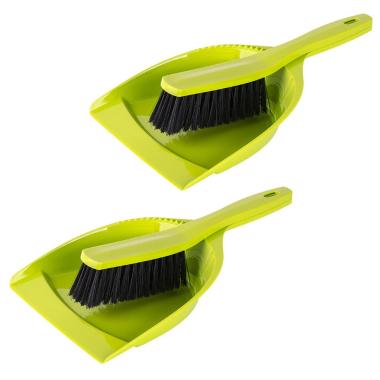 2x Kehrgarnitur Kehrschaufel Handfeger Kehrwisch Kehrset Haushalt Fußboden Küche Reinigung aus Kunststoff grün