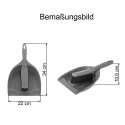 2x Kehrgarnitur Kehrschaufel Handfeger Kehrwisch Kehrset Haushalt Fußboden Küche Reinigung aus Kunststoff grau