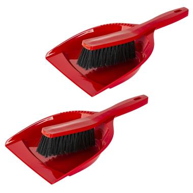 2x Kehrgarnitur Kehrschaufel Handfeger Kehrwisch Kehrset Haushalt Fußboden Küche Reinigung aus Kunststoff rot