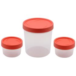 3er Vorrats-dose mit Deckel Set Frischhalte-dose Aufbewahrungs-dose Müsli-Dose Gewürz-dose Aufbewahrung rund Kunststoff BPA-frei lachs