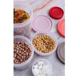 3er Vorrats-dose mit Deckel Set Frischhalte-dose Aufbewahrungs-dose Müsli-Dose Gewürz-dose Aufbewahrung rund Kunststoff BPA-frei rot